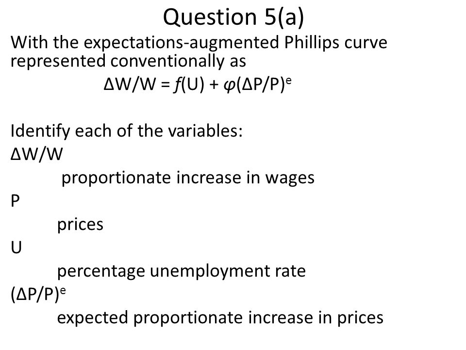 Question 5(a) With the expectations-augmented Phillips curve represented conventionally as. ΔW/W = f(U) + φ(ΔP/P)e.