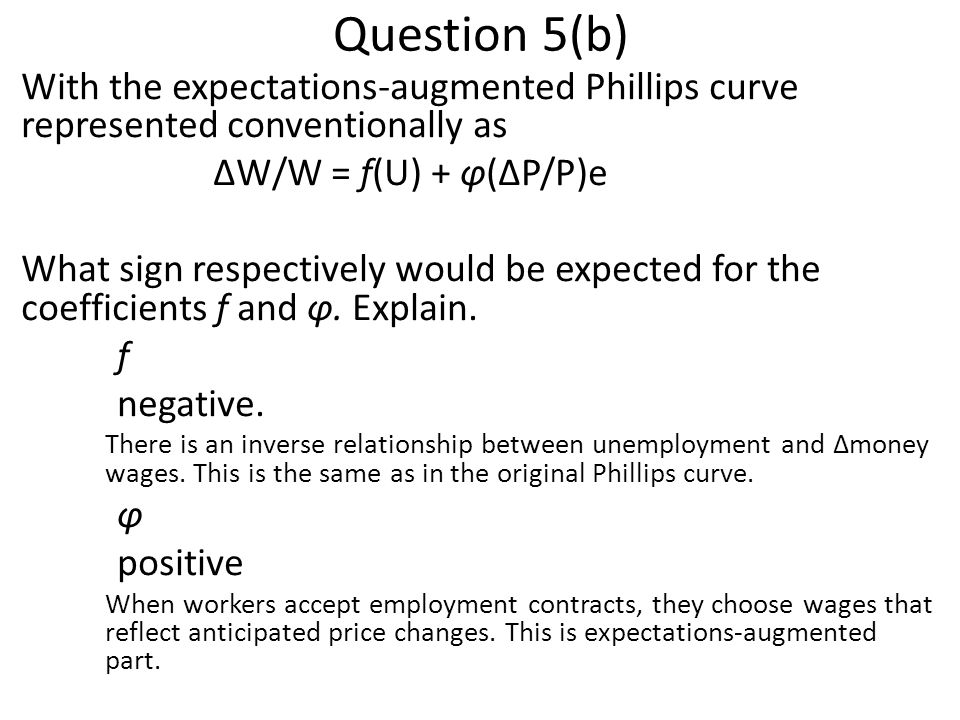 Question 5(b) With the expectations-augmented Phillips curve represented conventionally as. ΔW/W = f(U) + φ(ΔP/P)e.