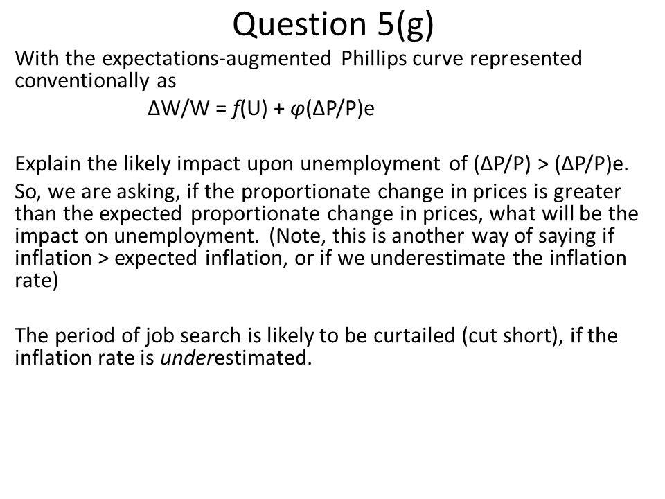 Question 5(g) With the expectations-augmented Phillips curve represented conventionally as. ΔW/W = f(U) + φ(ΔP/P)e.