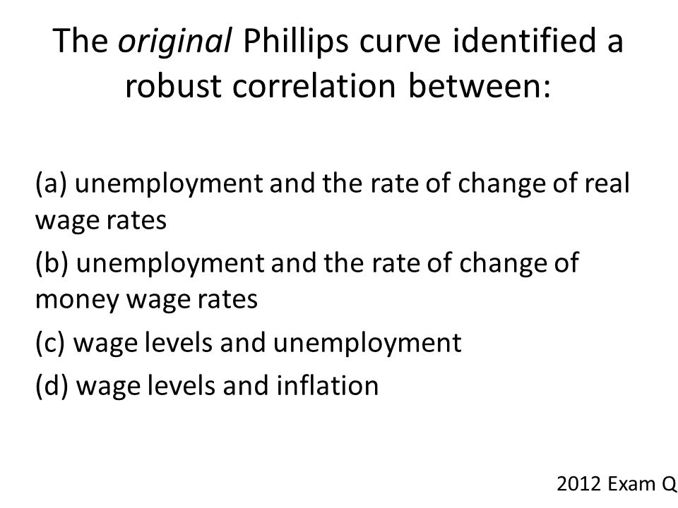 The original Phillips curve identified a robust correlation between: