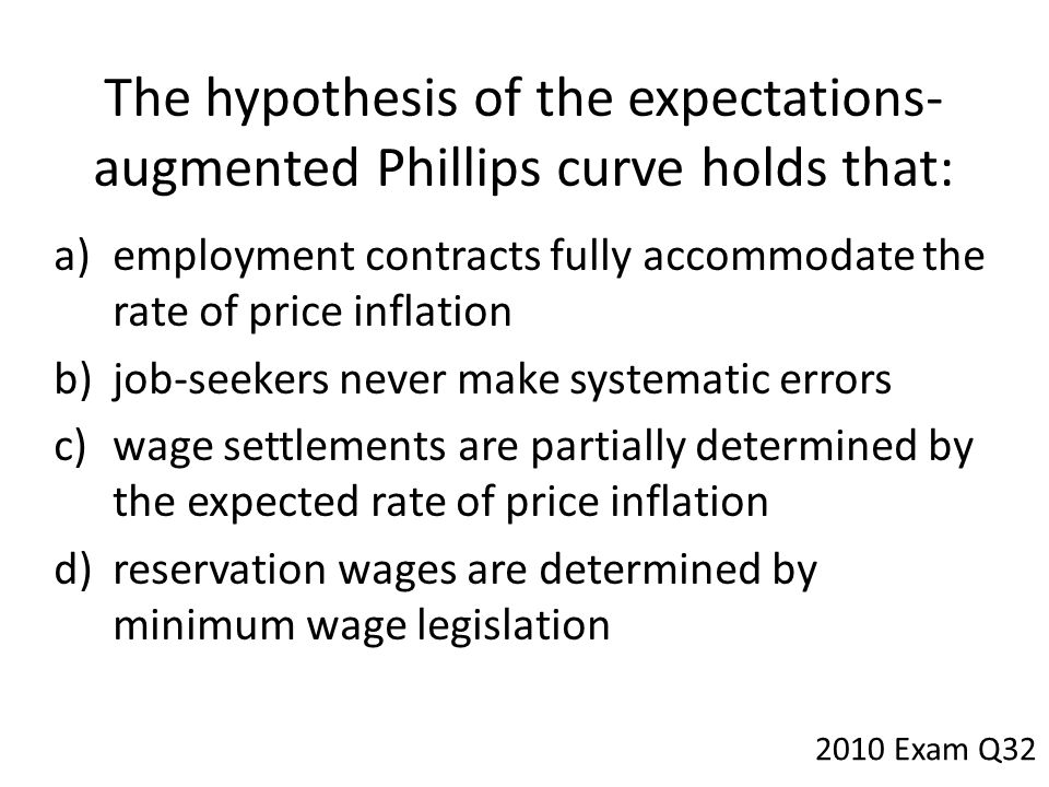 The hypothesis of the expectations-augmented Phillips curve holds that: