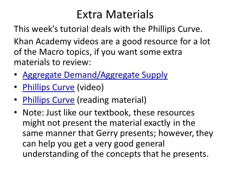 Extra Materials This week's tutorial deals with the Phillips Curve.