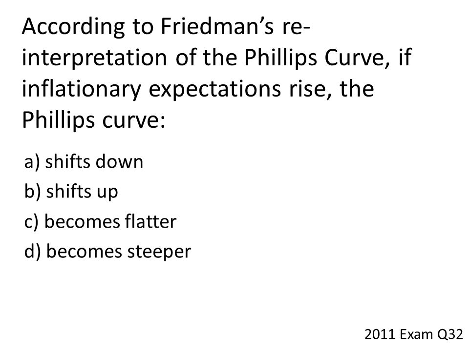 According to Friedman's re-interpretation of the Phillips Curve, if inflationary expectations rise, the Phillips curve: