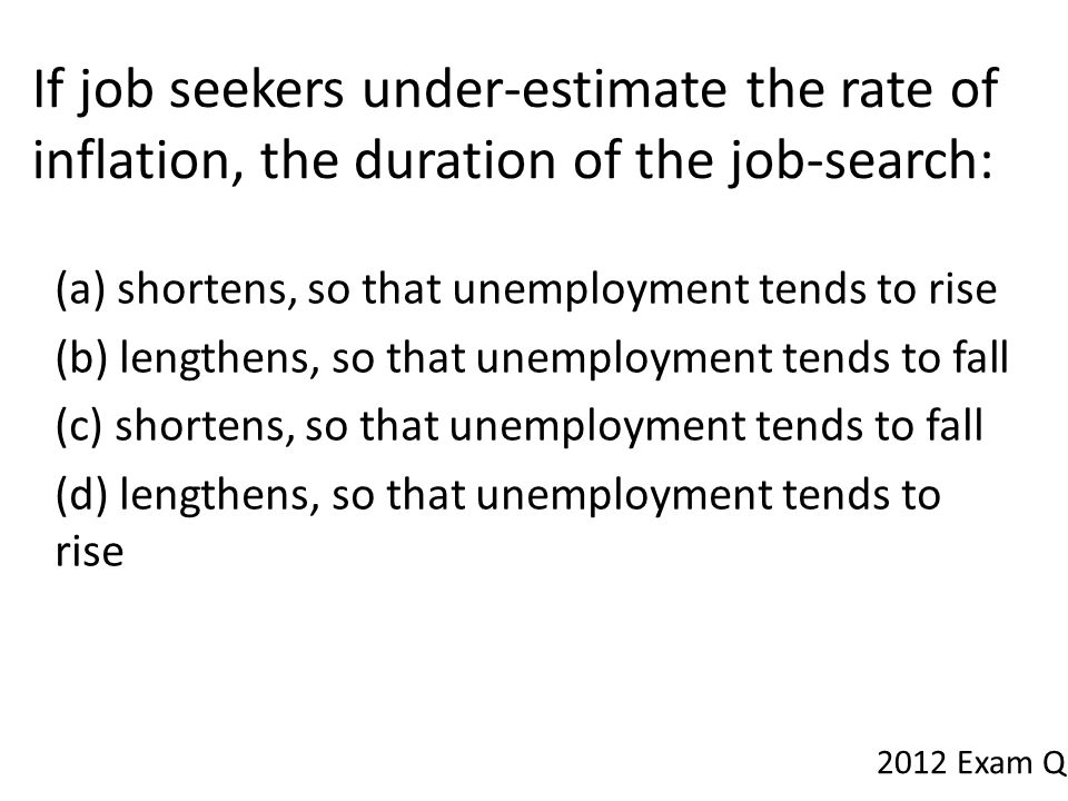 If job seekers under-estimate the rate of inflation, the duration of the job-search:
