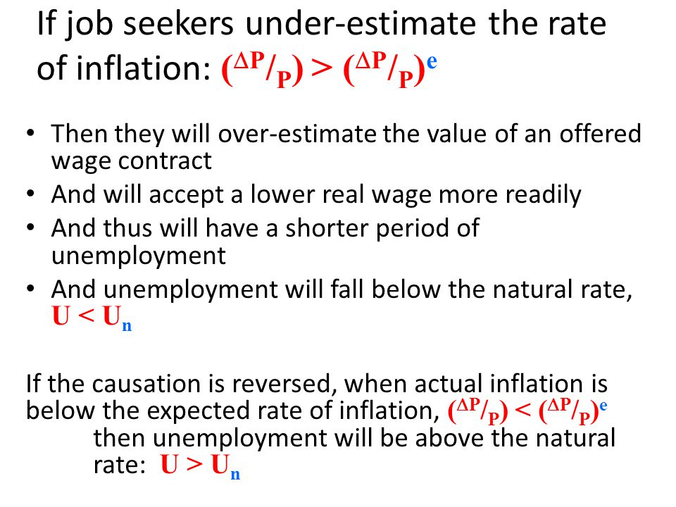 If job seekers under-estimate the rate of inflation: (DP/P) > (DP/P)e