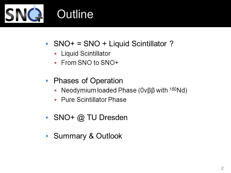 Outline SNO+ = SNO + Liquid Scintillator Phases of Operation