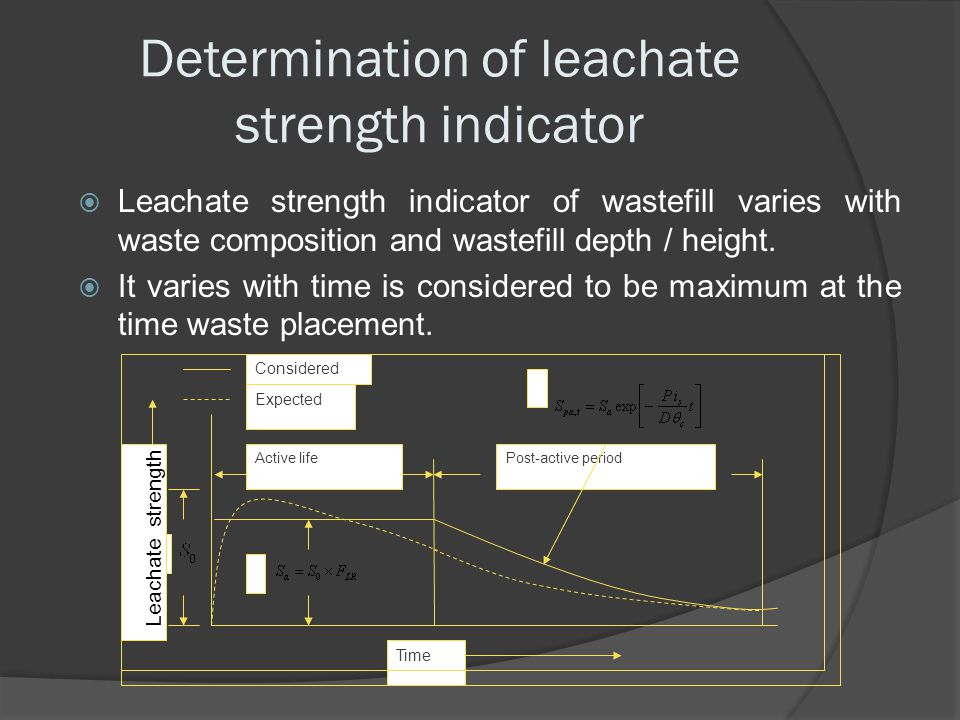 Determination of leachate strength indicator