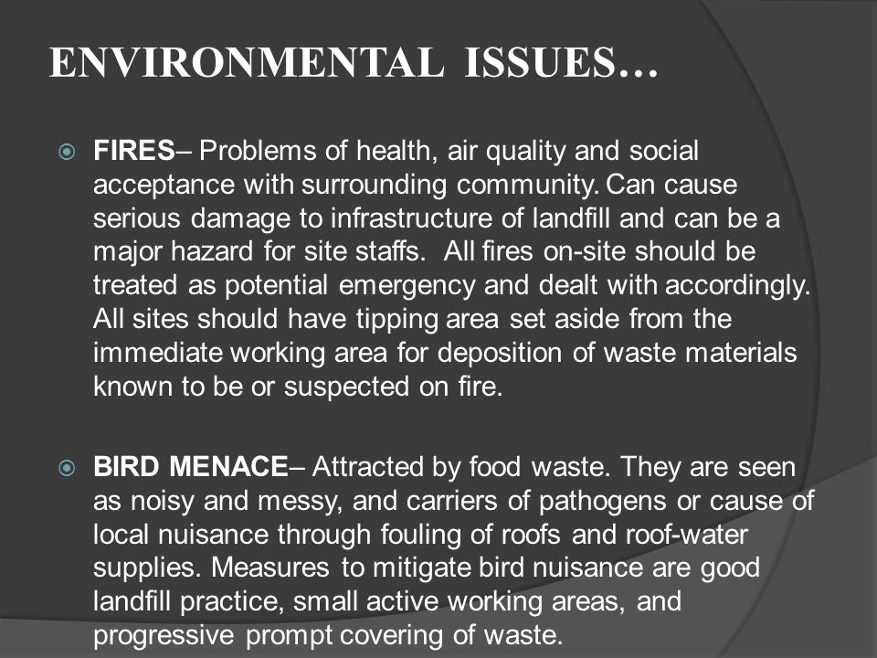 ENVIRONMENTAL ISSUES…