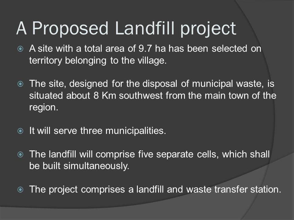 A Proposed Landfill project