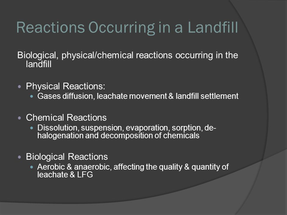 Reactions Occurring in a Landfill