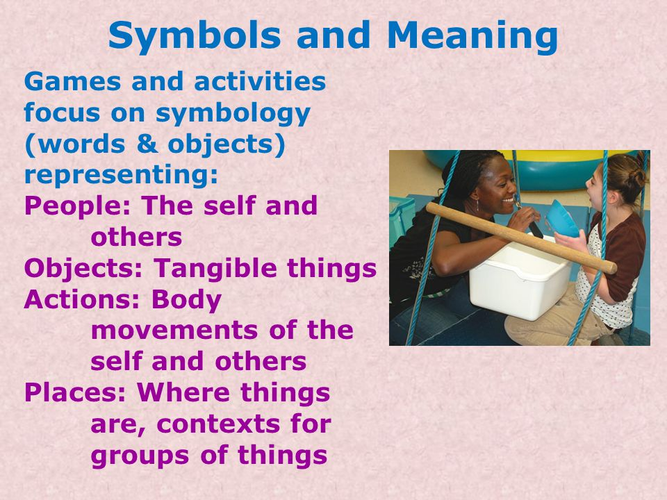 Symbols and Meaning Games and activities focus on symbology (words & objects) representing: