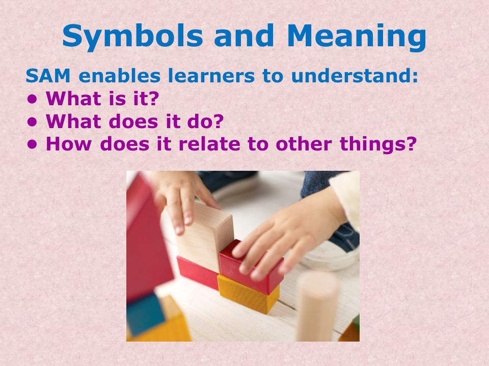 Symbols and Meaning SAM enables learners to understand: • What is it.