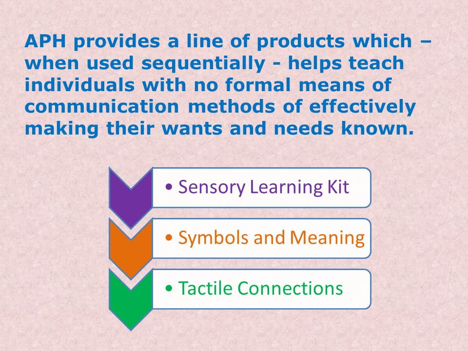APH provides a line of products which – when used sequentially - helps teach individuals with no formal means of communication methods of effectively making their wants and needs known.