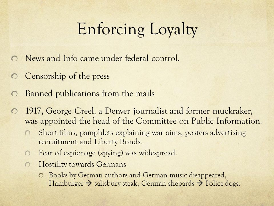 Enforcing Loyalty News and Info came under federal control.