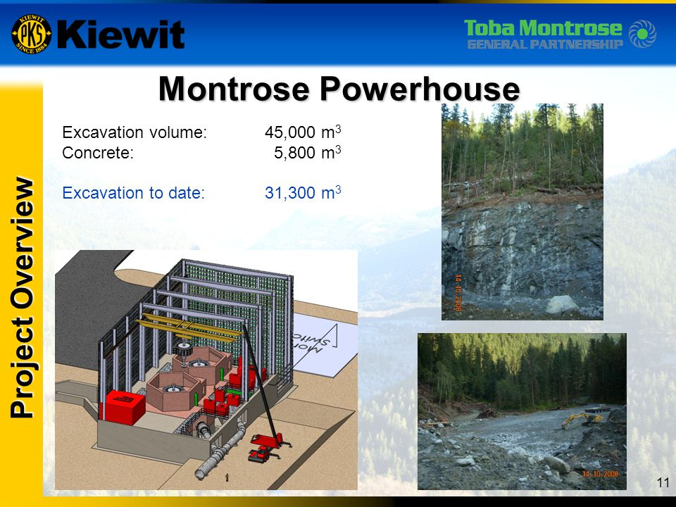 Montrose Powerhouse Project Overview Excavation volume: 45,000 m3