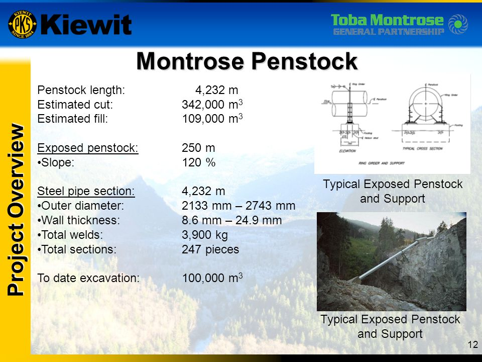 Montrose Penstock Project Overview Penstock length: 4,232 m