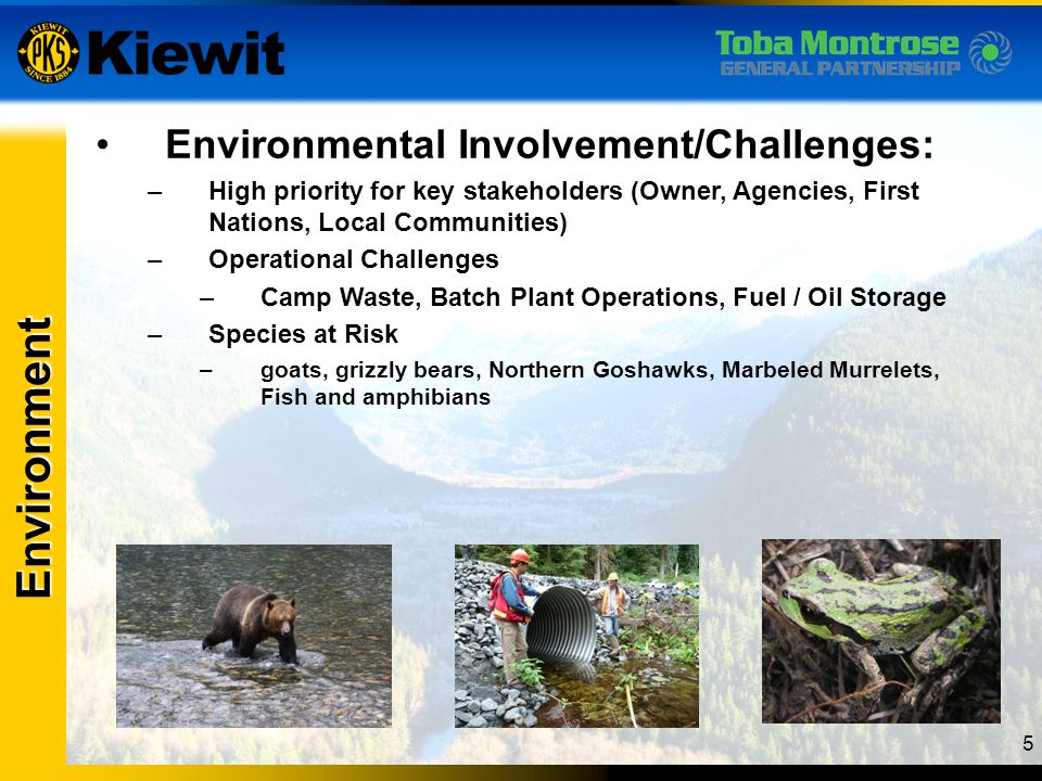 Environment Environmental Involvement/Challenges: