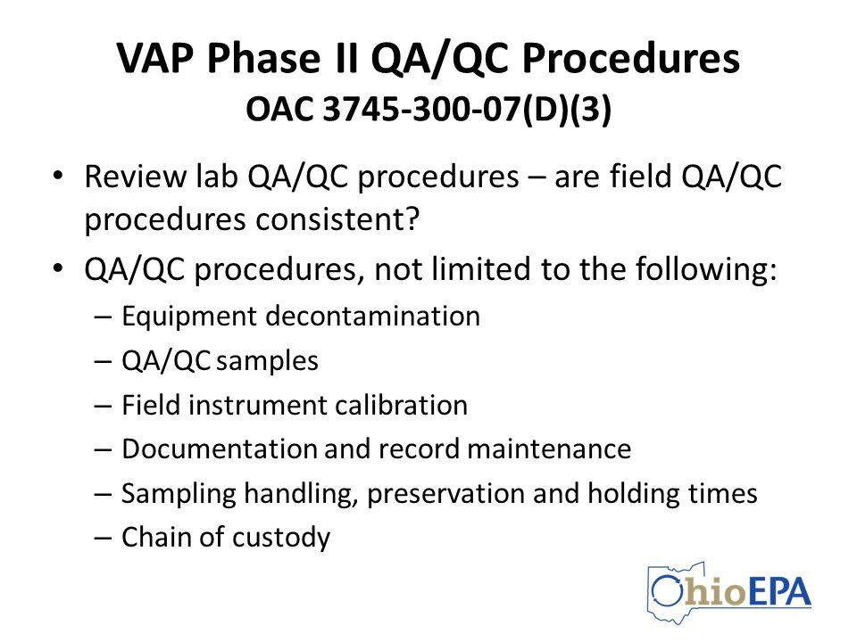 VAP Phase II QA/QC Procedures OAC 3745-300-07(D)(3)