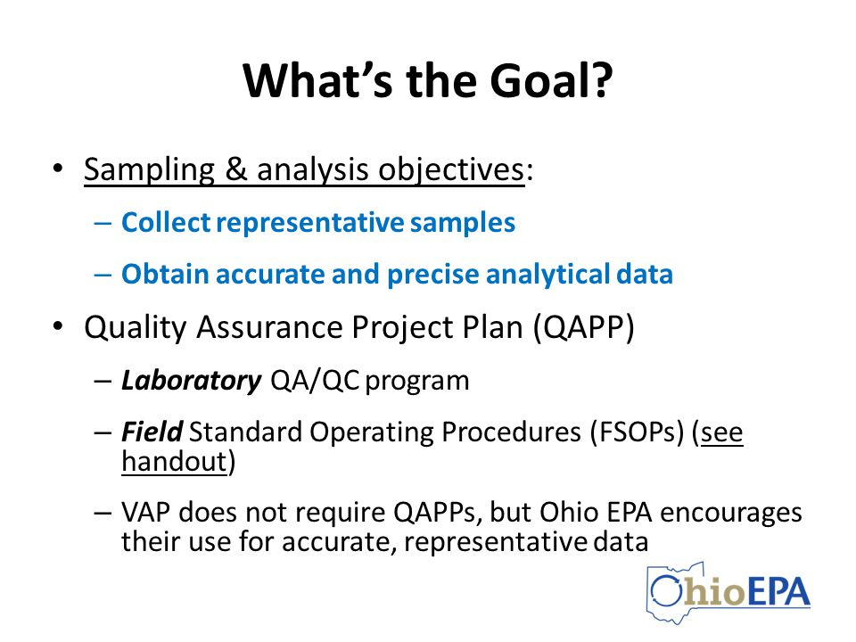 What's the Goal Sampling & analysis objectives: