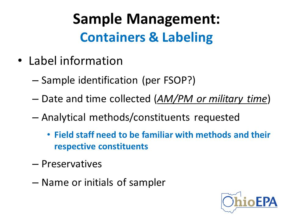 Sample Management: Containers & Labeling