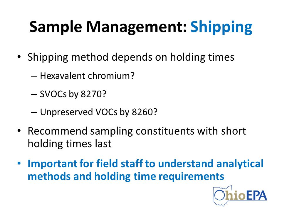 Sample Management: Shipping