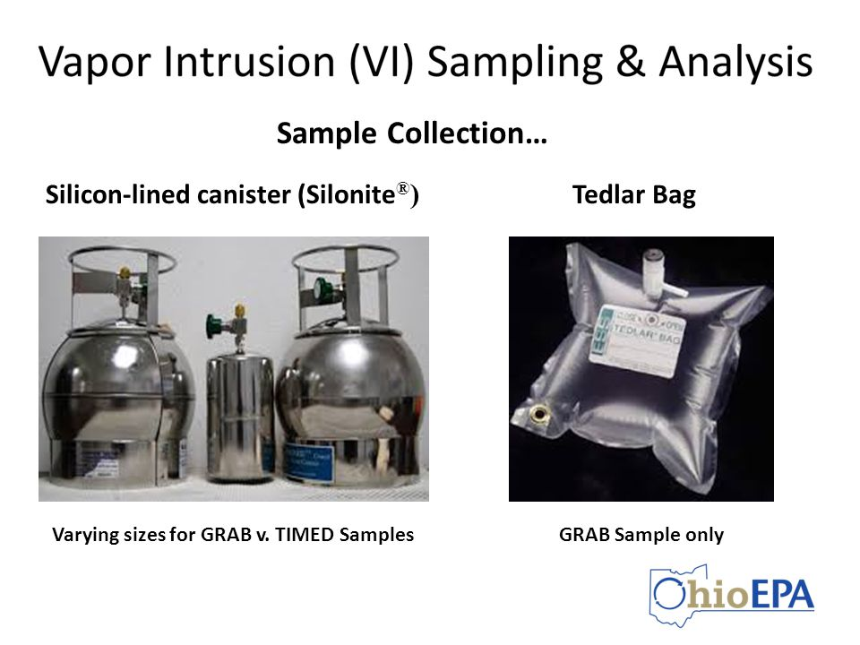 Sample Collection… Silicon-lined canister (Silonite®) Tedlar Bag