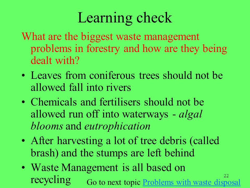 Go to next topic Problems with waste disposal