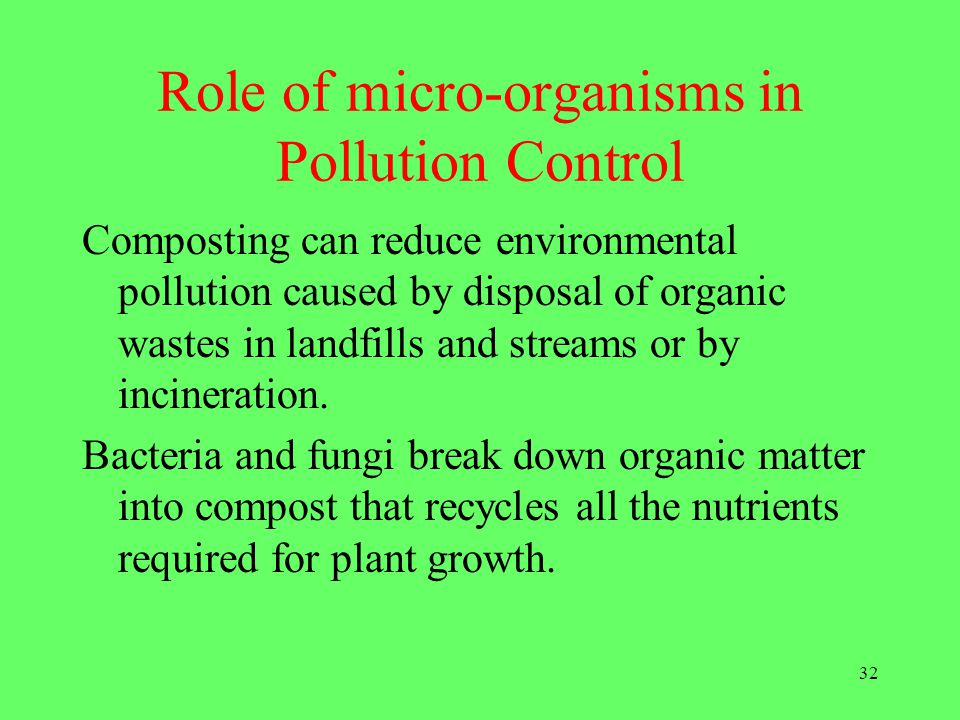 Role of micro-organisms in Pollution Control