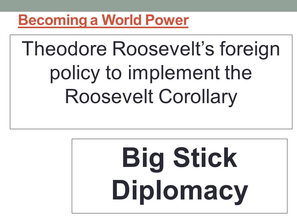Becoming a World Power Theodore Roosevelt's foreign policy to implement the Roosevelt Corollary.