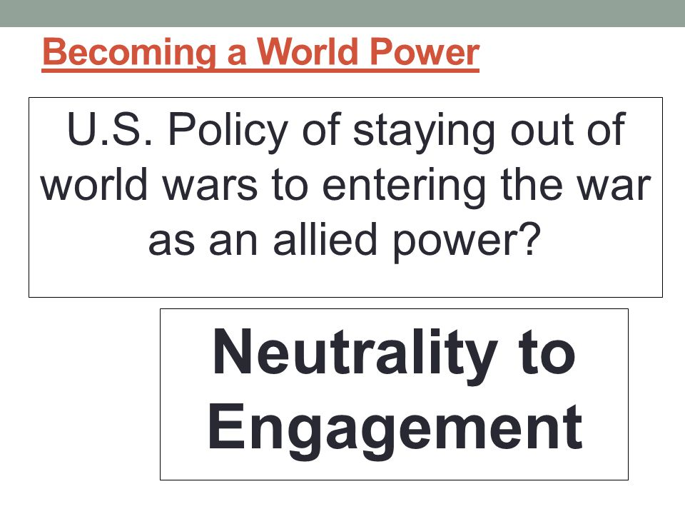 Neutrality to Engagement