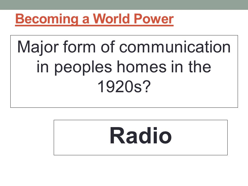 Major form of communication in peoples homes in the 1920s
