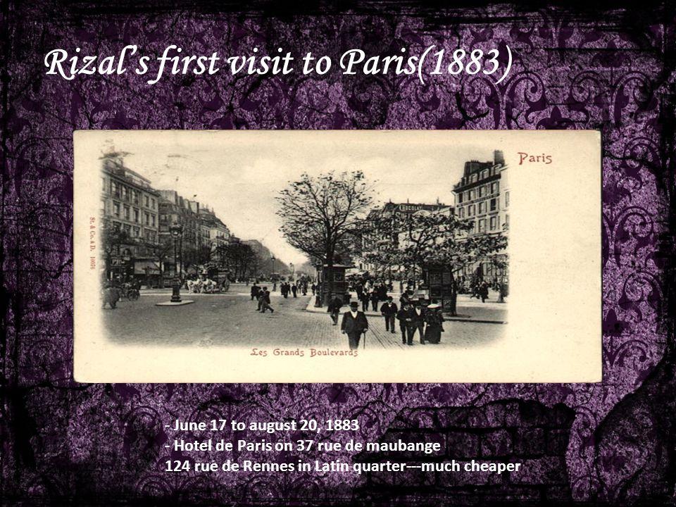 Rizal's first visit to Paris(1883)