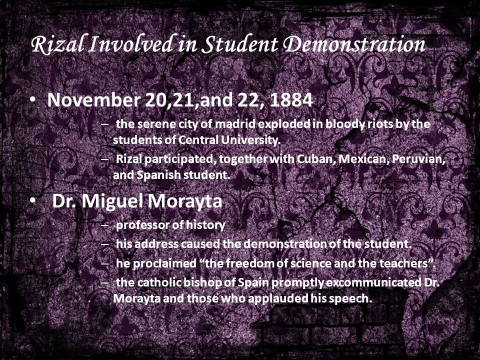 Rizal Involved in Student Demonstration