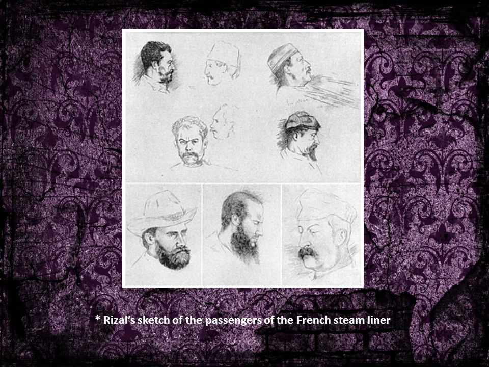 * Rizal's sketch of the passengers of the French steam liner