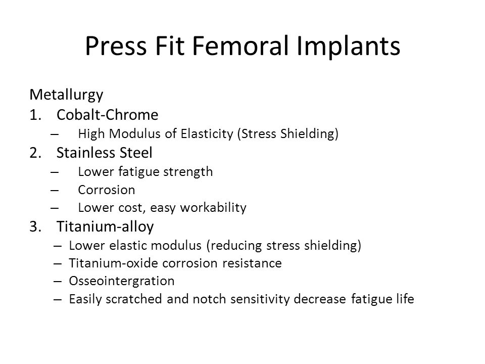 Press Fit Femoral Implants
