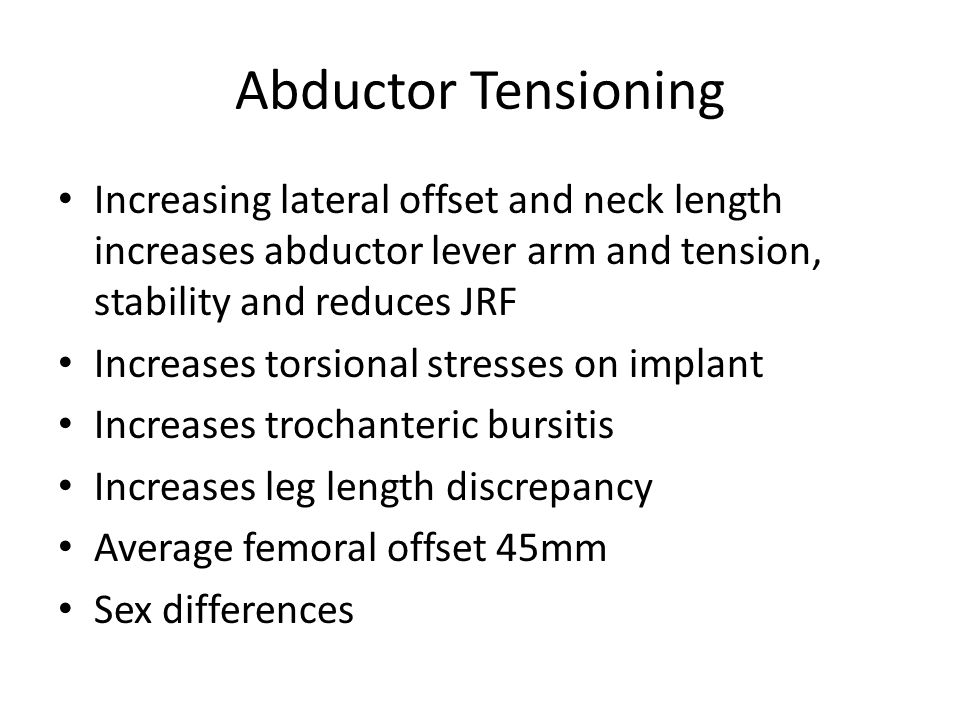 Abductor Tensioning Increasing lateral offset and neck length increases abductor lever arm and tension, stability and reduces JRF.