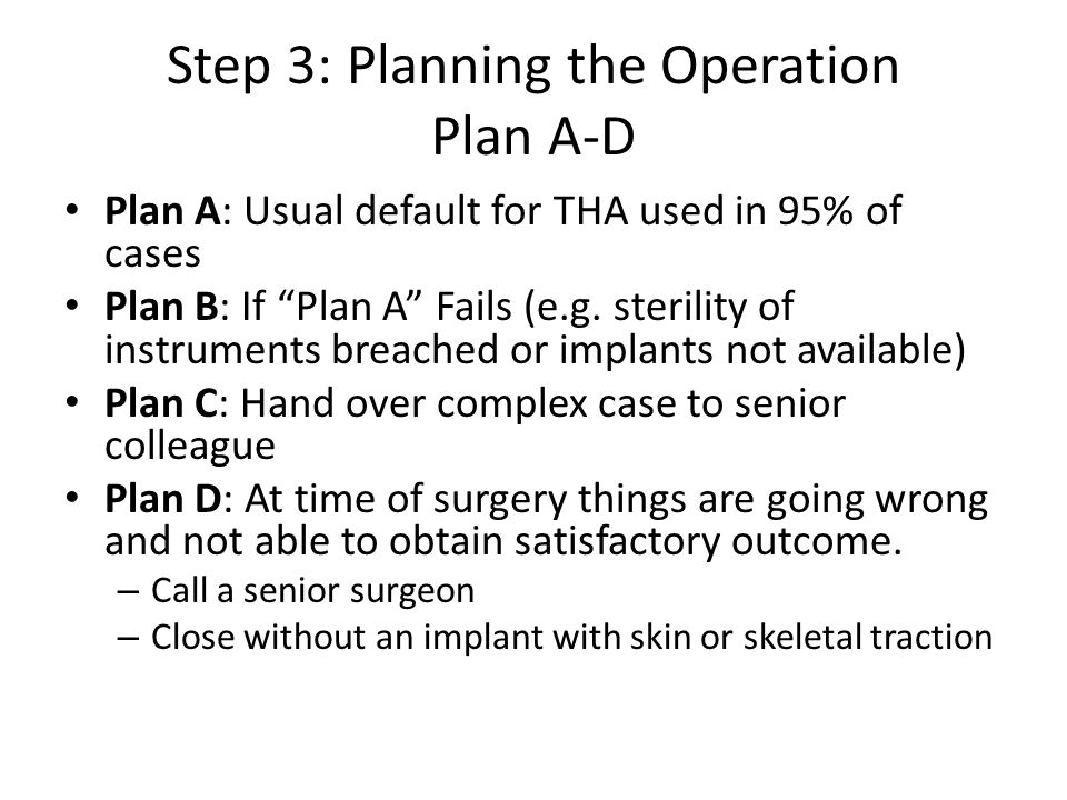 Step 3: Planning the Operation Plan A-D