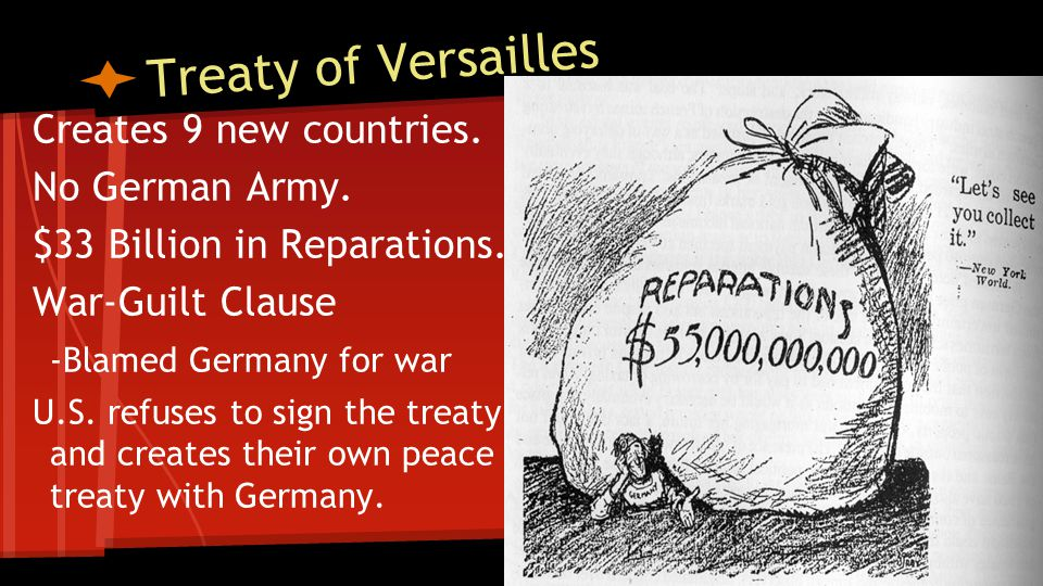 Treaty of Versailles Creates 9 new countries. No German Army.