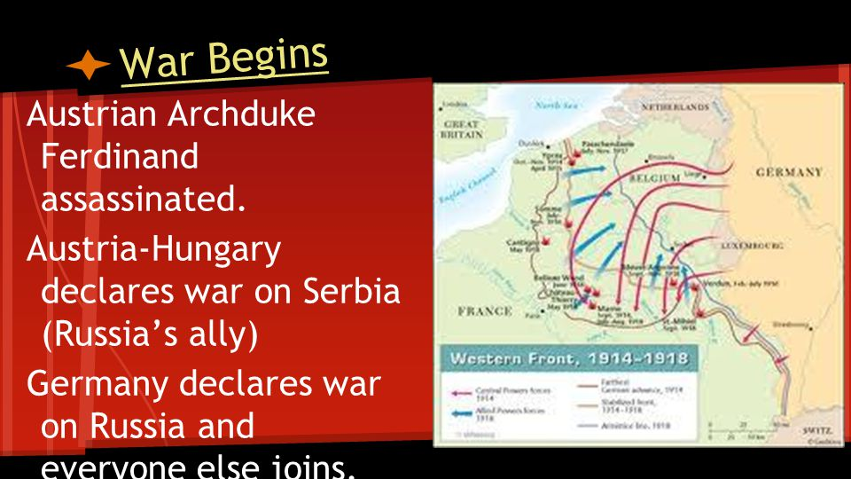 War Begins Austrian Archduke Ferdinand assassinated.