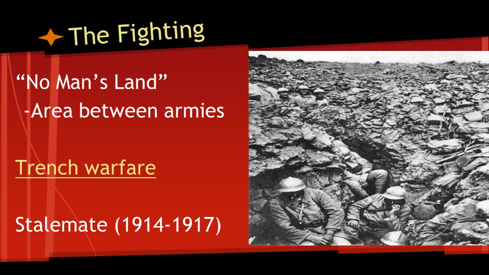 The Fighting No Man's Land -Area between armies Trench warfare