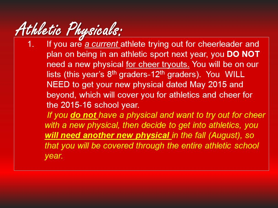 Athletic Physicals: