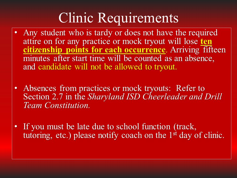 Clinic Requirements