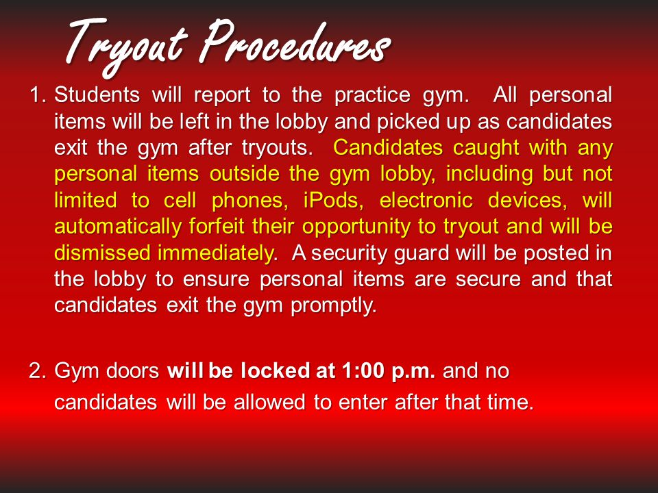 Tryout Procedures