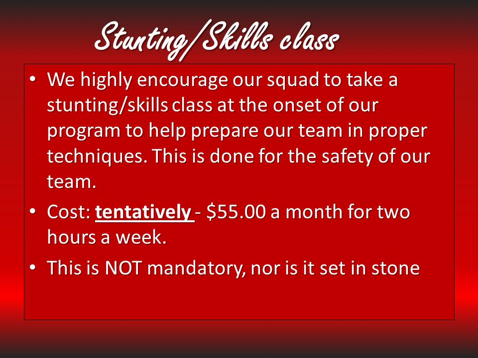 Stunting/Skills class