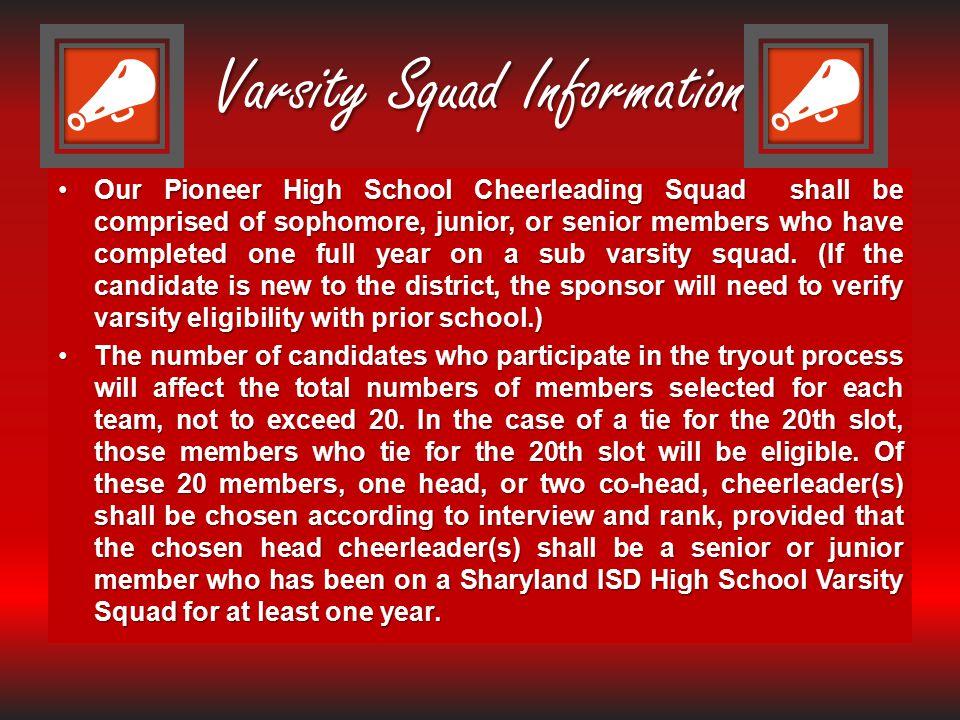 Varsity Squad Information