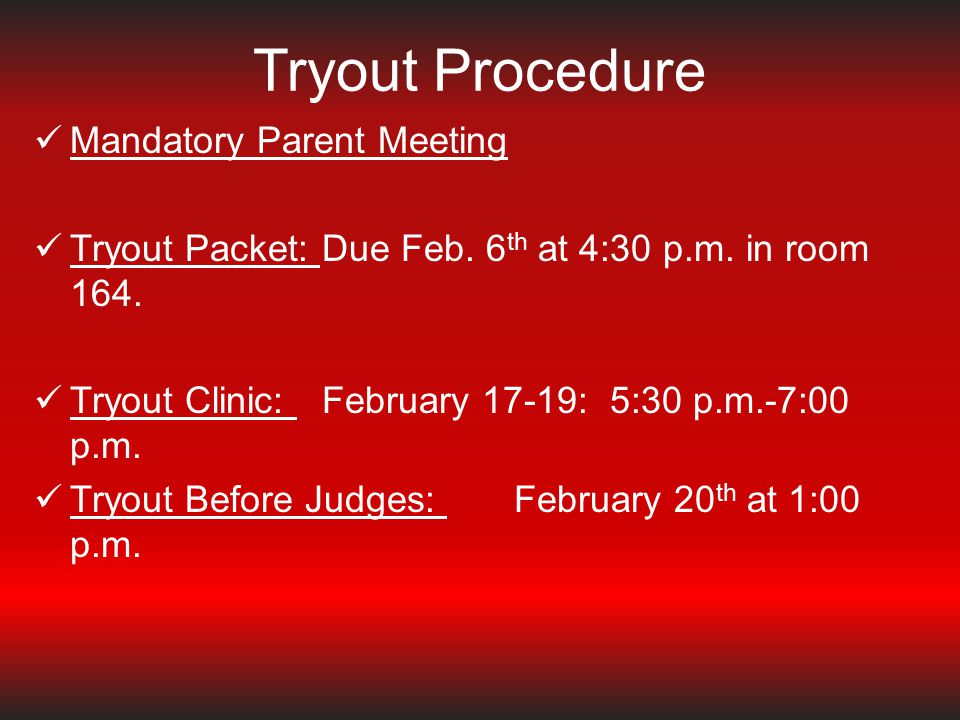 Tryout Procedure Mandatory Parent Meeting