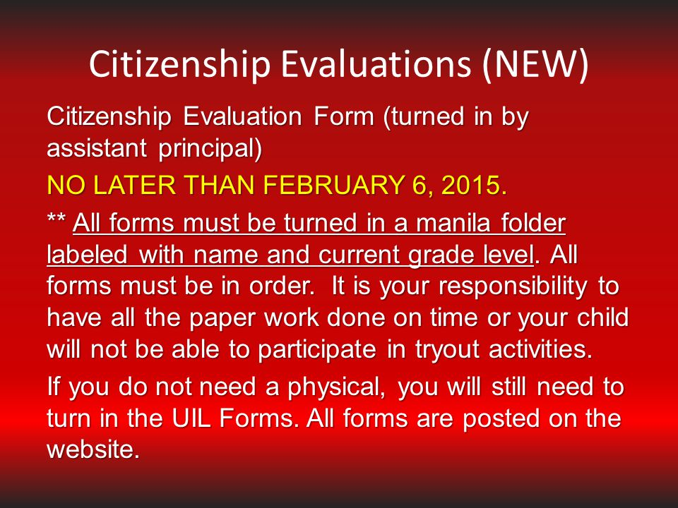 Citizenship Evaluations (NEW)