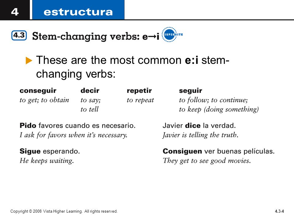 These are the most common e:i stem-changing verbs: