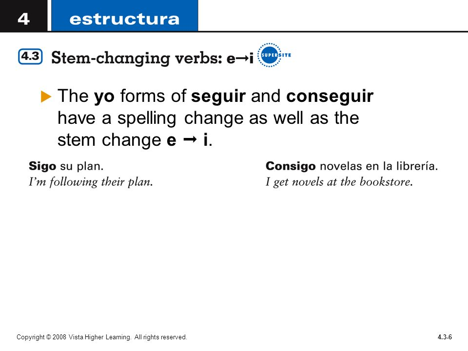 The yo forms of seguir and conseguir have a spelling change as well as the stem change e  i.