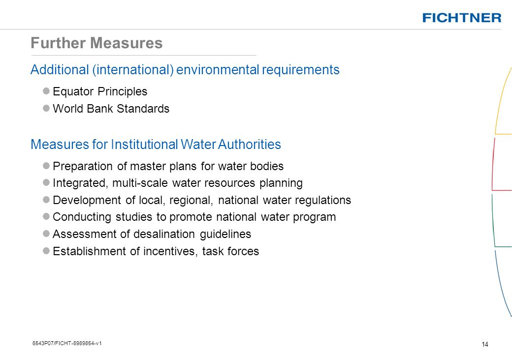 Further Measures Additional (international) environmental requirements